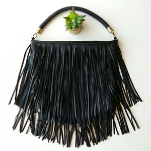 H&M Black Fringe Vegan Leather Satchel Handbag